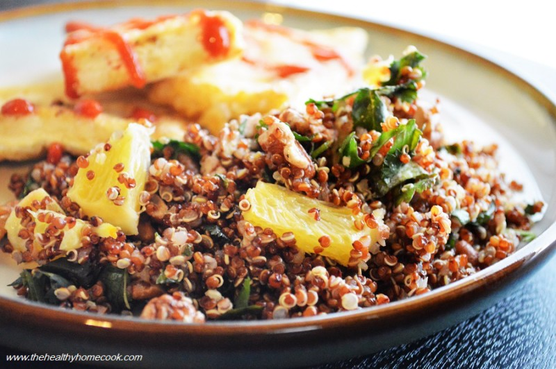 This Crispy Tofu with Orange Pecan Quinoa is my new obsession. Meatless Mondays never tasted so good!