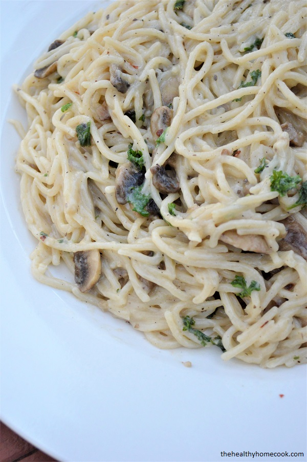 Garlic and Herb Mushroom Spaghetti is creamy and perfect.