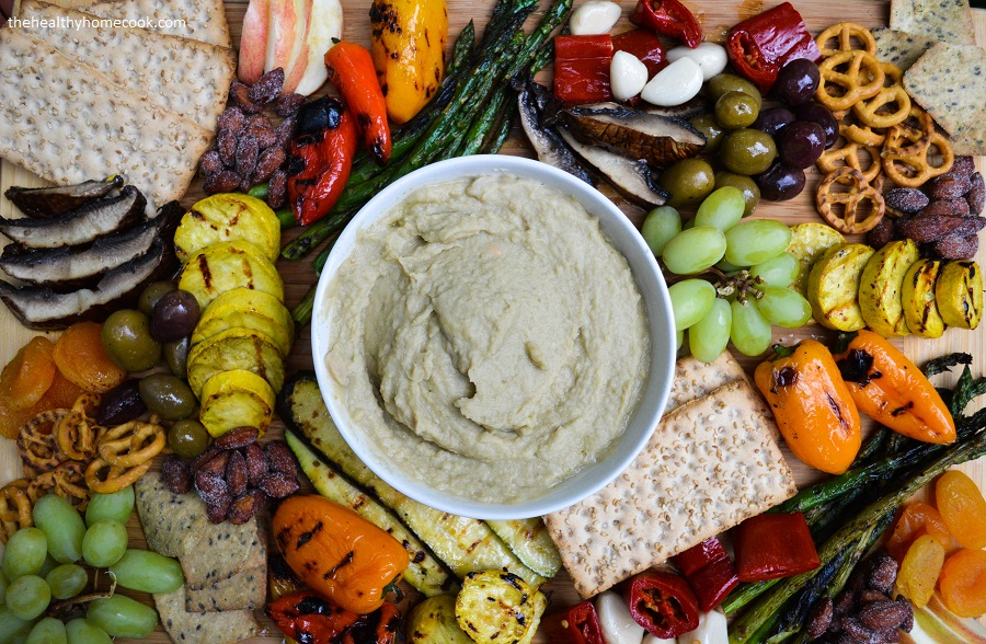 This flavorful Grilled Vegetable Antipasto Platter with Roasted Hatch Bean Dip is the perfect centerpiece for your next summer party!