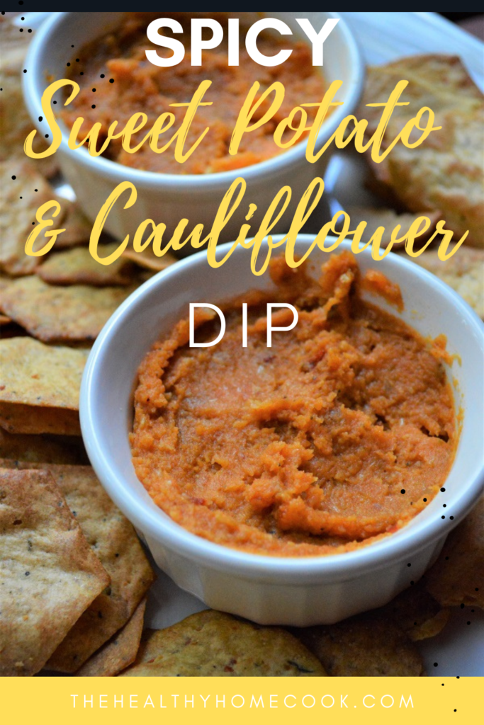 This tasty {Spicy} Sweet Potato & Cauliflower Dip is super addicting and packed full of zesty flavors.