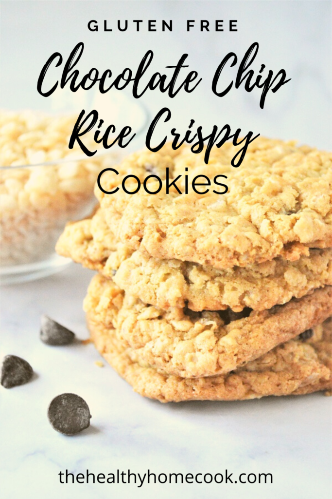The perfect mix of crispy & chewy! These {Gluten Free} Chocolate Chip Rice Crispy Cookies are irresistible.